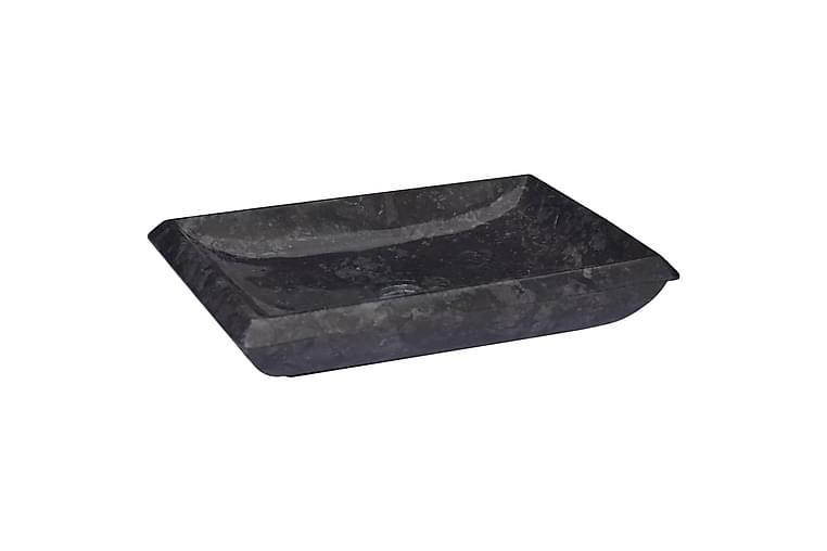 Vask 50x35x10 cm marmor svart - Svart - Baderom - Servant og håndvask - Enkel vask