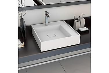 Vask 50x50x12,3 cm mineralstøpt/marmorstøpt hvit