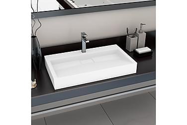 Vask 80x46x11 cm mineralstøpt/marmorstøpt hvit