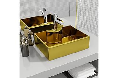 Vask med kranhull 48x37x13,5 cm keramikk gull