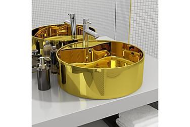 Vask med overløpsfunksjon 46,5x15,5 cm keramikk gull