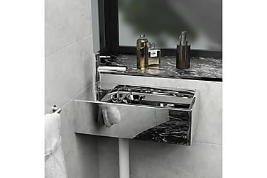 Vask med overløpsfunksjon 49x25x15 cm keramikk sølv