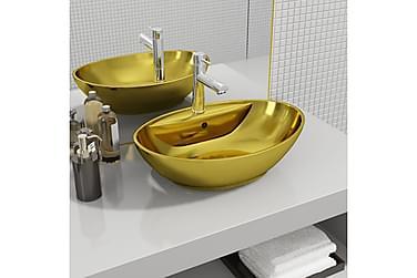 Vask med overløpsfunksjon 58,5x39x21 cm keramikk gull