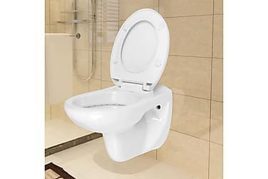 Vegghengt toalett med myktlukkende toalettsete keramisk hvit