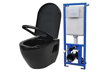 Vegghengt toalett med sisterne keramikk svart