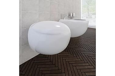 Veggmontert bidet -og toalettsett hvit keramikk