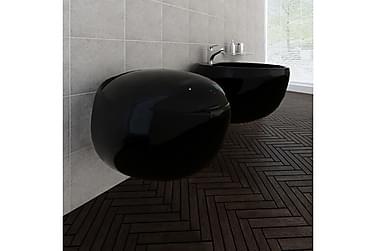 Veggmontert bidet -og toalettsett svart keramikk