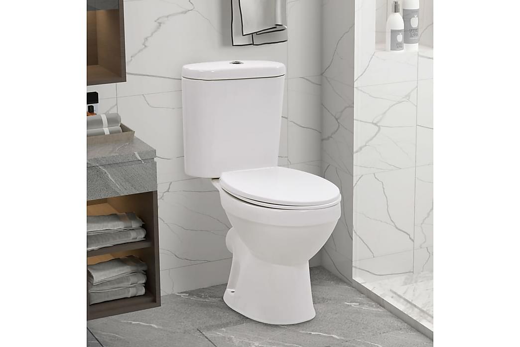 Stående toalett med sisterne soft-close keramisk hvit - Hvit - Baderom - Toaletter - Gulvstående