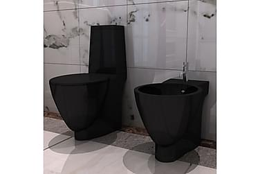 Svart Keramisk Toalett & Bidet Sett