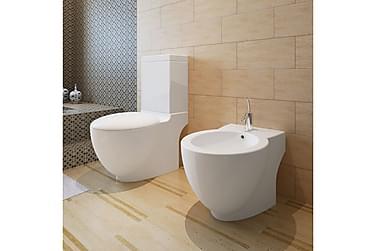 Toalett & Bidet Sett Hvit Keramikk