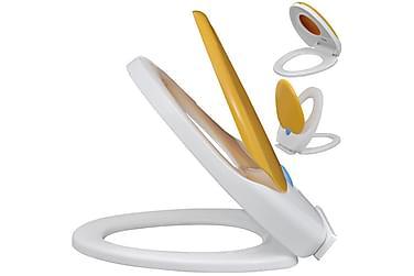 Hvitt & gult soft-close toalettsete til voksne og barn