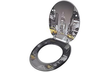 Toalettsete med MDF-Lokk New York Design