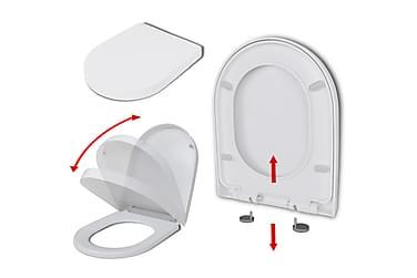 Toalettsete med soft-close og hurtigfeste hvit firkantet
