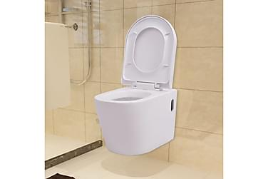 Vegghengt toalett i hvit keramikk
