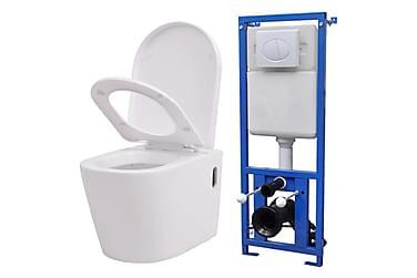 Vegghengt toalett med skjult sisterne hvit keramikk