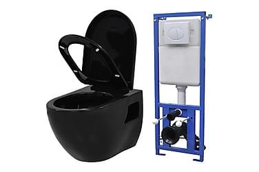 Vegghengt toalett med skjult sisterne keramikk svart