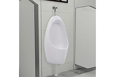 Veggmontert urinal med spylesystem keramikk