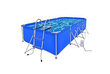 Svømmebasseng med stige og pumpe stål 394x207x80 cm
