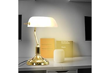 Bordlampe i bankerstil 40 W hvit og gull