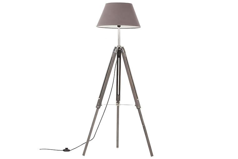 Gulvlampe med stativ grå heltre teak 141 cm - Grå - Belysning - Innendørsbelysning & Lamper - Gulvlampe