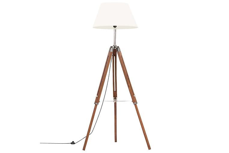 Gulvlampe med stativ honningbrun og hvit heltre teak 141 cm - Brun - Belysning - Innendørsbelysning & Lamper - Gulvlampe