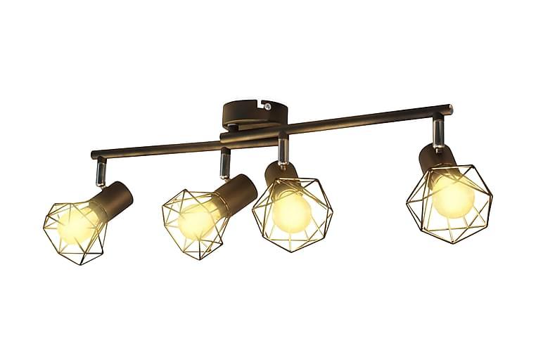 Spotlys industrielt design med 4 LED-glødelamper - Svart - Belysning - Innendørsbelysning & Lamper - Taklampe