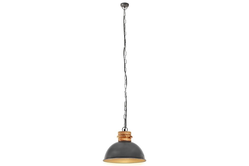 Industriell hengelampe grå rund 32 cm E27 heltre mango - Grå - Belysning - Innendørsbelysning & Lamper - Taklampe