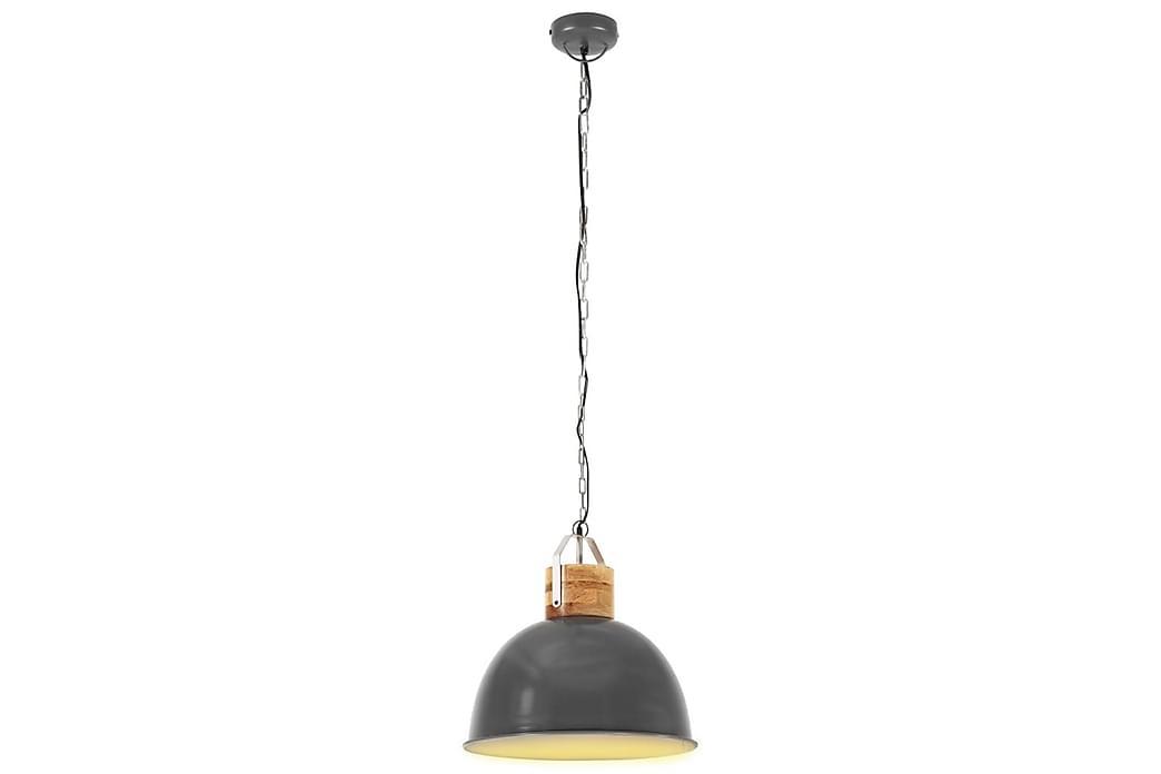 Industriell hengelampe grå rund 51 cm E27 heltre mango - Belysning - Innendørsbelysning & Lamper - Taklampe