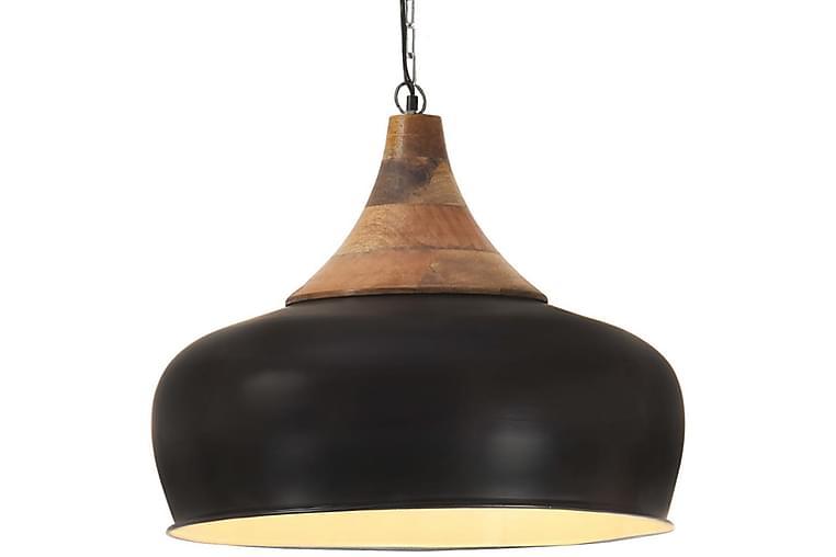 Industriell hengelampe svart jern og heltre 45 cm E27 - Svart - Belysning - Innendørsbelysning & Lamper - Taklampe