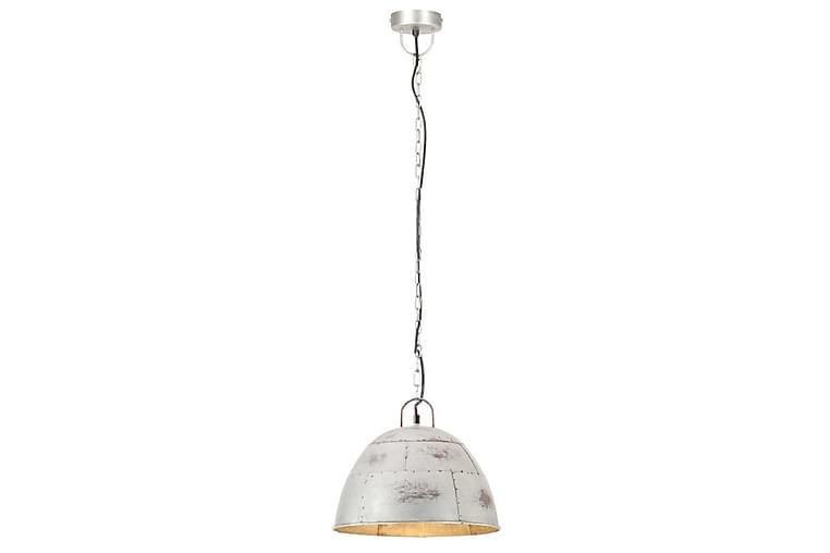 Industriell vintage hengelampe 25 W sølv rund 31 cm E27 - Silver - Belysning - Innendørsbelysning & Lamper - Taklampe