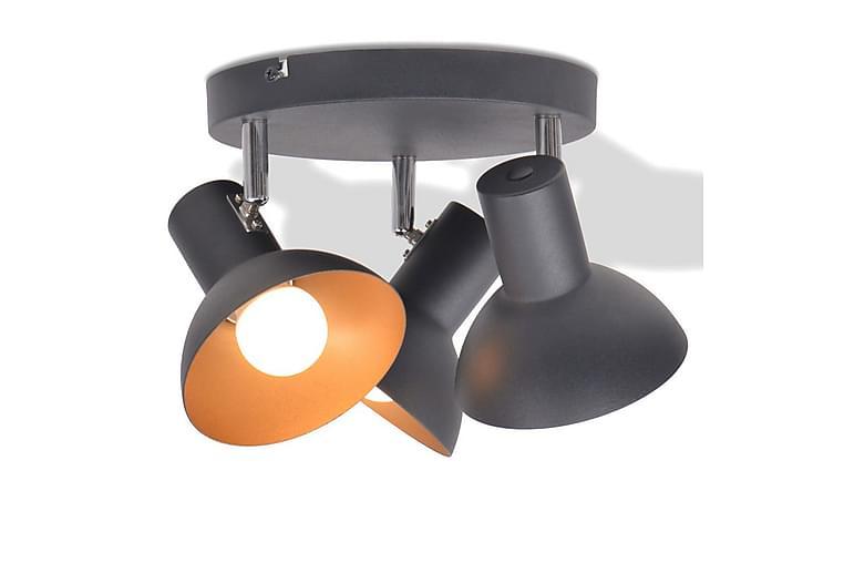 Taklampe for 3 pӕrer E27 svart and gull - Svart/Gull - Belysning - Innendørsbelysning & Lamper - Taklampe