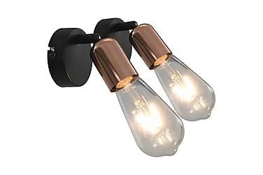 Spotlys 2 stk med glødelamper 2 W svart og kobber E27