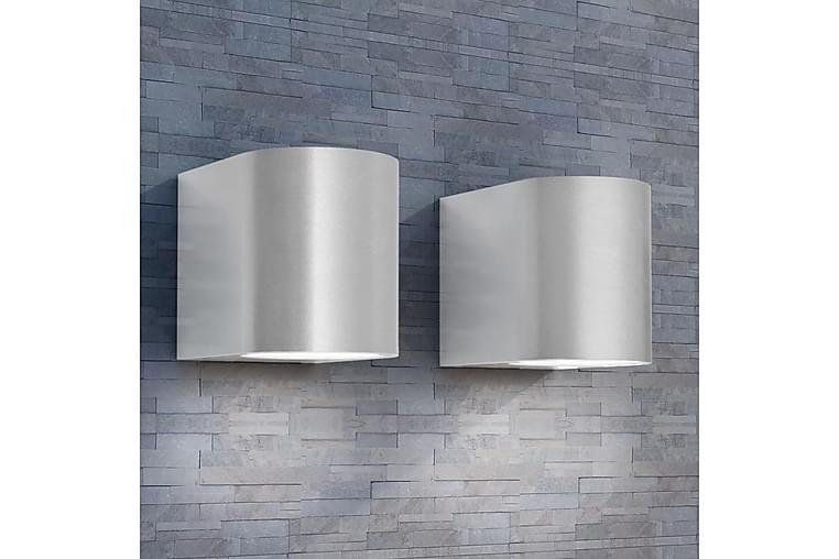 Utendørs LED vegglamper 2 stk rund nedover - Sølv - Belysning - Innendørsbelysning & Lamper - Vegglampe