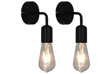 Vegglamper 2 stk med glødelamper 2 W svart E27