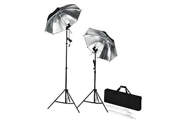 Bærbare studioblitzer med stativ og paraplyer