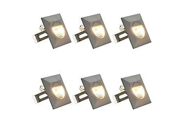Utendørs LED-vegglamper 6 stk 5 W sølv firkantet