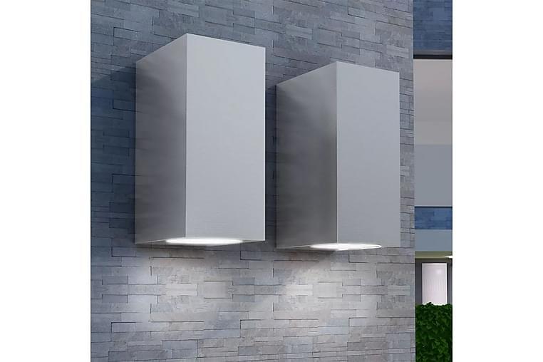 Utendørs Opp- og Nedlysende Vegglamper 2 stk - Sølv - Belysning - Utendørsbelysning - Fasadebelysning