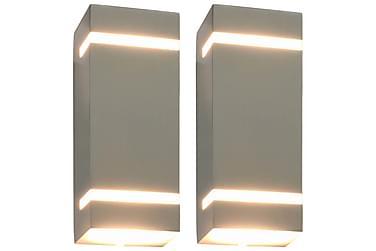 Utendørs vegglamper 2 stk 35 W sølv rektangulær