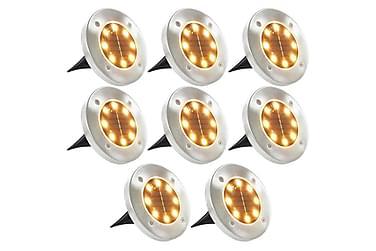 Soldrevet bakkelys 8 stk LED-lys Varmhvit