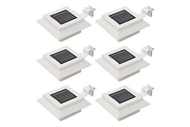 Utendørs sollampe 6 stk LED firkantet 12 cm hvit