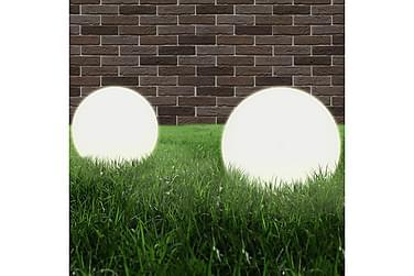 Lampesett LED 2 stk sfærisk 40 cm PMMA