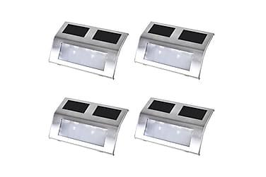 Trappetrinn med LED-lys og solcellepanel 4 stk