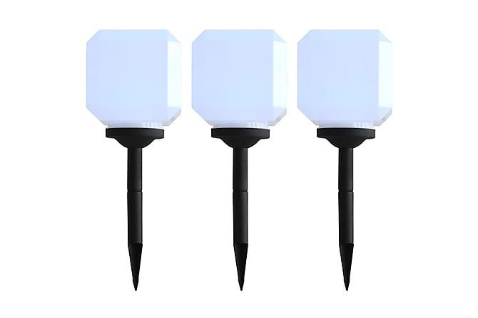 2ac1e4209 Utendørs sollampe 3 stk LED kubeformet 20 cm hvit