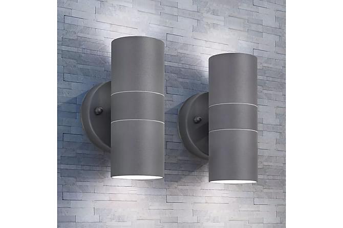 Werdin Vegglampe Oppover/Nedover LED 2-pk - Svart - Belysning - Utendørsbelysning - Utelamper