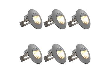 Utendørs LED-vegglamper 6 stk 5 W sølv rund