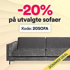 Midlertidig deal - 20% på utvalgte sofaer!