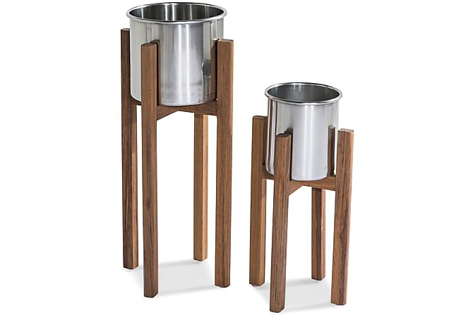 Båstad Krukke - Teak/Børstet Aluminium - Hage - Blomsterpotter - Store blomsterkrukker