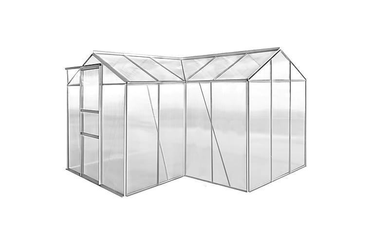 Drivhus aluminium 2 seksjoner med hule paneler