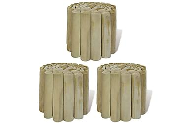 Hagekant kubberull 3 stk 250x20 cm FSC treverk
