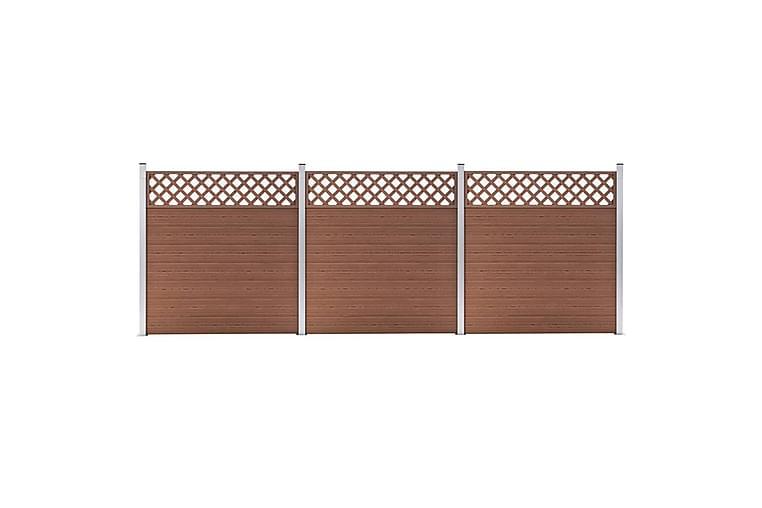 Gjerdesett WPC 3 paneler firkantet 526x185 cm brun - Hage - Hagedekorasjon & utemiljø - Gjerder & Grinder